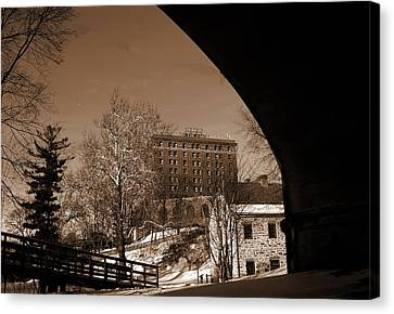 View Of Hotel Bethlehem From Colonial Industrial Quarter - Sepia Canvas Print by Jacqueline M Lewis