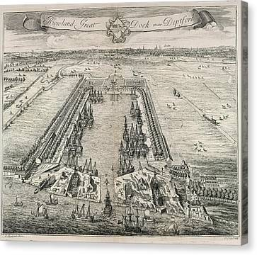 View Of Howland Great Dock Canvas Print by British Library