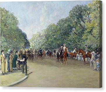 View Of Hyde Park With Figures On Rotten Row  Canvas Print by Albert Jnr Ludovici