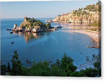 View Of Isola Bella Island, Taormina Canvas Print by Peter Adams