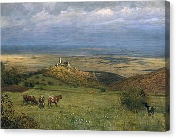 Cow Canvas Print - View Of Kronberg In Taunus by Hans Thoma