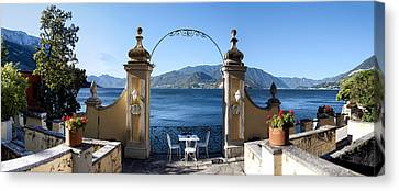 View Of Lake Como From A Patio Canvas Print by Panoramic Images