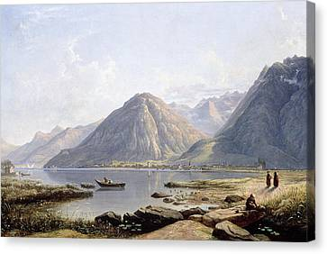 View Of Lake Geneva With The Town Of Villeneuve Canvas Print by Francis Danby