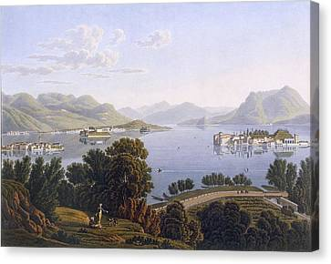 View Of Lake Maggiore And The Borromean Canvas Print by Swiss School