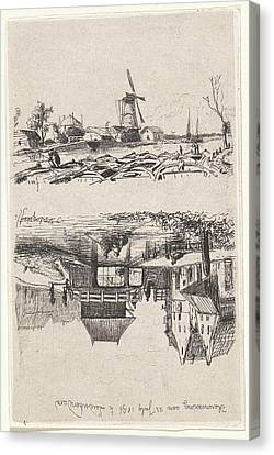 View Of Leidschendam, The Netherlands, Jan Weissenbruch Canvas Print by Jan Weissenbruch And Joseph Hartogensis