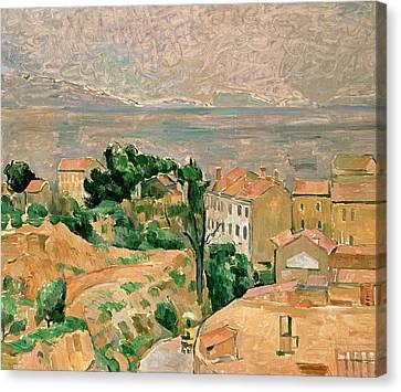 Dry Land Canvas Print - View Of L'estaque by Paul Cezanne