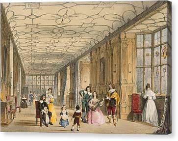 View Of Long Hall At Haddon Canvas Print by Joseph Nash