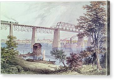 View Of Louisville Coloured Engraving Canvas Print by Asa Coolidge Warren