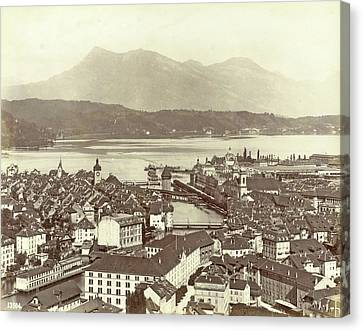 Lucerne Canvas Print - View Of Lucerne And The Lake Lucerne, Giorgio Sommer by Artokoloro