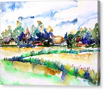 View Of Ludorf Over The Meadows  Canvas Print by Barbara Pommerenke