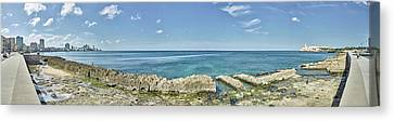 View Of Malecon From Vedado To La Canvas Print