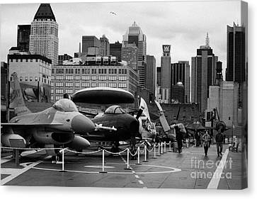 View Of Manhattan From The Flight Deck Of The Uss Intrepid At The Intrepid Sea Air Space Museum Canvas Print