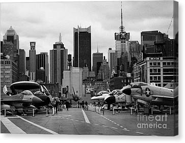 View Of Manhattan From The Flight Deck Of The Uss Intrepid  New York City Canvas Print