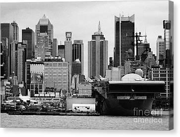 view of manhattan skyline USS Intrepid Aircraft Carrier new york city landmarks Canvas Print by Joe Fox