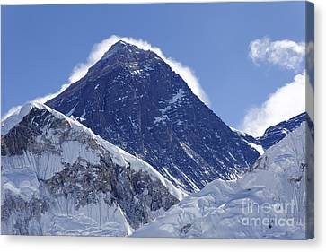 View Of Mount Everest From The Summit Of Kala Pathar In The Everest Region Of Nepal Canvas Print by Robert Preston