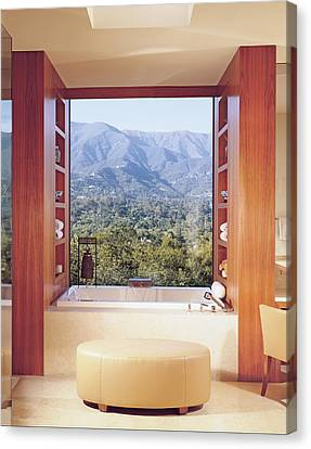 View Of Mountain Through Bathroom Window Canvas Print by Mary E. Nichols