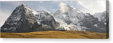 View Of Mt Eiger And Mt Monch, Kleine Canvas Print by Panoramic Images