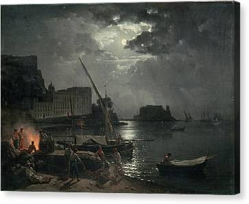 View Of Naples In Moonlight Canvas Print