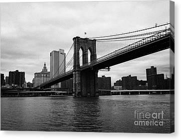 View Of New York From Beneath The Brooklyn Bridge New York Canvas Print by Joe Fox