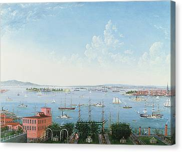 View Of New York Harbor From Brooklyn Heights Canvas Print by American School