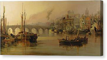 Docklands Canvas Print - View Of Newcastle From The River Tyne by Thomas Miles Richardson