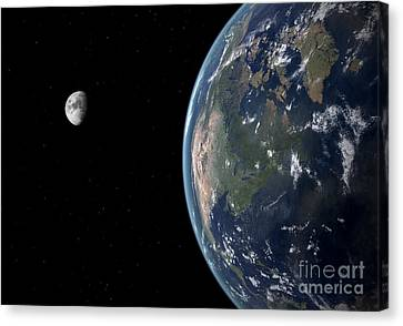 Merging Canvas Print - View Of North America With Rise In Sea by Walter Myers