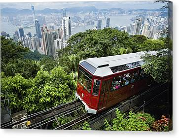 View Of Peak Tram Arriving At The Top Canvas Print by Axiom Photographic