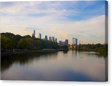 View Of Philadelphia From The Girard Avenue Bridge Canvas Print by Bill Cannon