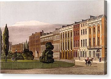 View Of Portman Square, North Side, 1816 Canvas Print by Rudolph Ackerman