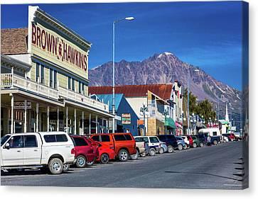 View Of Seward, Alaska Storefronts Canvas Print