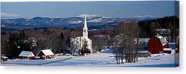 New England Village Canvas Print - View Of Small Town In Winter, Peacham by Panoramic Images