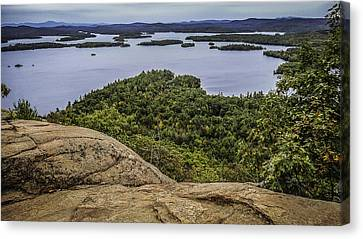 View Of Squam Lake From Rattlesnake Mountain Canvas Print by Karen Stephenson