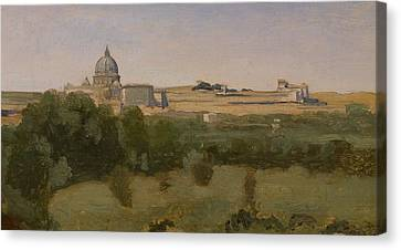 View Of St Peters Canvas Print by Jean Baptiste Camille Corot
