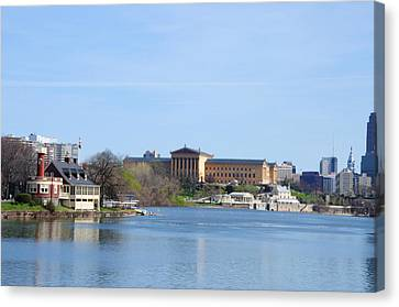 View Of The Art Museum And Waterworks In Philadelphia Canvas Print by Bill Cannon