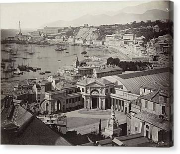 Genoa Canvas Print - View Of The Bay Of Genoa With A Railway Station by Artokoloro