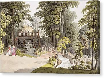 View Of The Cascade At Erlaw, Vienna Canvas Print by Laurenz Janscha