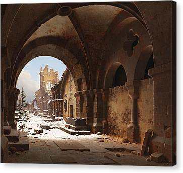 View Of The Church Ruin In Winter Canvas Print by Carl Hasenpflug