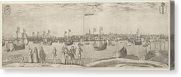 View Of The City Of Amsterdam On The Ij, The Netherlands Canvas Print by Pieter Bast