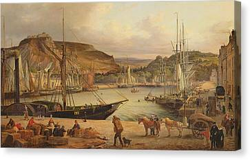 View Of The Commercial Port At Cherbourg Canvas Print by Theodore Deslinieres
