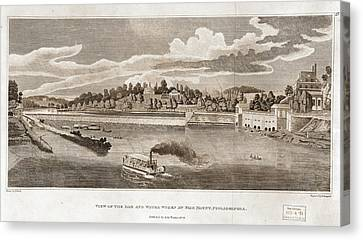 View Of The Dam And Water Works At Fairmount Canvas Print by Litz Collection