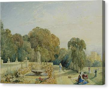 View Of The Gardens At Chatsworth Canvas Print by Frances Elizabeth Swinburne