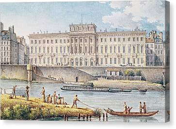 View Of The Hotel Des Monnaies At The Confluence Of The Two Branches Of The Seine  Canvas Print by Victor Jean Nicolle