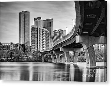 View Of The James D. Pfluger Pedestrian Bridge Over Lady Bird Lake - Austin Texas Hill Country Canvas Print