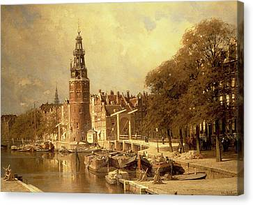 View Of The Kalk Market In Amsterdam Canvas Print by Johannes Karel Christian Klinkenberg