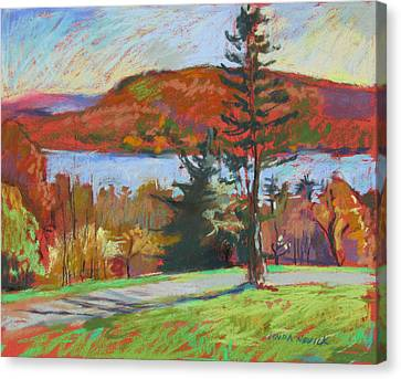 Canvas Print featuring the painting View Of The Lake by Linda Novick