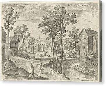 View Of The Main Street Of Laeken, Belgium Canvas Print by Hans Collaert (i) And Hans Bol And Claes Jansz. Visscher (ii)