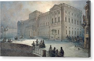 View Of The Mariinsky Palace In Winter Canvas Print by Vasili Semenovich Sadovnikov