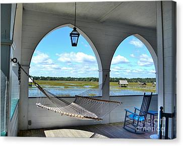 View Of The Marsh From The Pelican Inn Canvas Print by Kathy Baccari