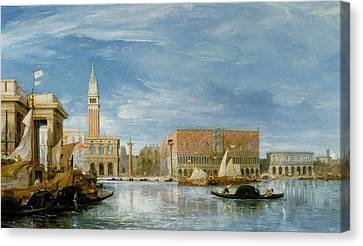 View Of The Molo And The Palazzo Ducale In Venice  Canvas Print