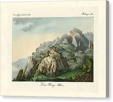 View Of The Mount Athos Canvas Print by Splendid Art Prints